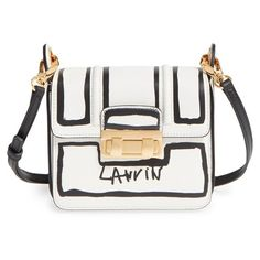 Lanvin 'Mini Jiji - Outline' Leather Crossbody Bag (€1.760) ❤ liked on Polyvore featuring bags, handbags, shoulder bags, shoulder handbags, purse crossbody, mini crossbody, leather crossbody handbags and hand bags