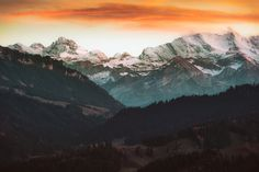 Orange Mood at Bernese Oberland by franzengels landscape sunset mountains beautiful evening gallery evening light layers landscape photography even Photos Of The Week, Orange, Landscape Photography, Travel Photography, Mount Everest, Tourism, Earth, Mood, Vacation
