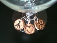 PEACE LOVE HAPPINESS Cork Wine Charms by AccentsHomeDecor on Etsy, $4.99