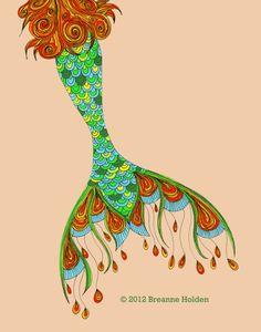 When I make my mermaid use sea glass on the end of tail. Whimsical Mermaid Tail Painting Illustration Archival Print 8 X 10 Cordelia via Etsy Real Mermaids, Mermaids And Mermen, Mermaid Fairy, Wow Art, Merfolk, Sea Creatures, Illustration Art, Mermaid Illustration, Painting Inspiration