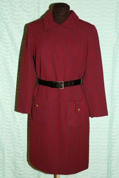 Vintage 60's 70's Mod Chevron Print Coat Dress Medium Navy & Red ILGWU Poly #Unbranded