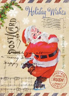 would love to put this on Canvas to set on shelf!!  Vintage Ephemera Christmas Designs
