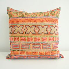 For the bedroom:: Hand-stitched geo tribal pillow