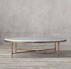 Thaddeus Forged Brass & Marble Round Coffee Table