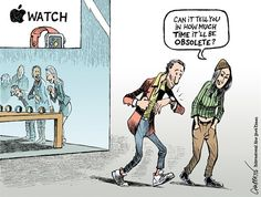 OBSOLETE? | Mar/11/15 Patrick Chappatte - The International New York Times - Here comes the Apple Watch -