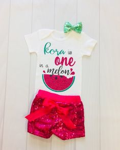 4cff8bb61 Girls Custom Birthday | One In A Melon | Girls First Birthday | Watermelon  Outfit