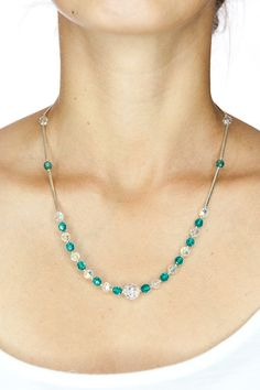 SWAROVSKI Necklace/ Blue and White Swarovski Crystal by DevikaBox, $49.00