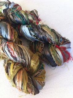 Sari silk ribbon craft ribbon Art yarn Knitting by Crochetmushroom, $10.99