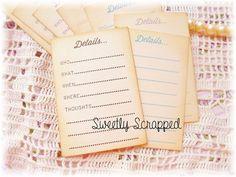 Details Journal Cards, Scrapbooking, Project Life and Smash Book Cards, 2 x 3, Pocket Cards, Filler