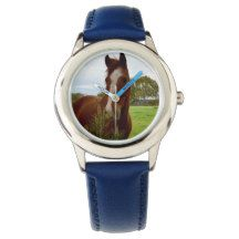 Horse_Sniff,_Childrens_Blue_Leather_Watch Watches
