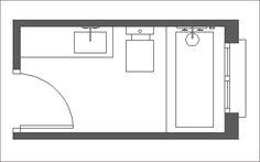 | Distribución de baños alargados y estrechos