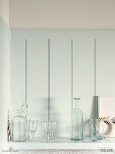 Home Ideas from KOHLER - Eastern Mist Kitchen - Benjamin Moore Iceberg 2122-50 in Aura Matte