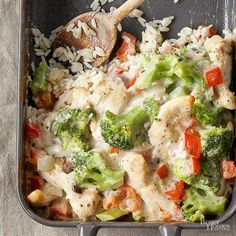 Add a flavorful kick to a traditional dish. Start this classic casserole on a bed of seasoned rice, then pile on a combination of Italian-flavored chicken, garlic, mushroom soup, and broccoli. The wholesome meal can be frozen up to 3 months./