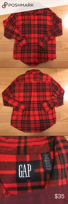 [MEN'S] GAP Red Flannel Button Down Shirt GAP Red Flannel Plaid Button Down Shirt. -Size XL -100% Cotton -Thick, warm material. -Excellent condition!  NO Trades. Please make all offers through offer button. GAP Shirts Casual Button Down Shirts