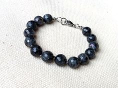 Larvikite Hand Knotted Bracelet Grey Bracelet with by CITBhandmade
