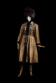 "Coat and hat from the ""Opera and Ballets Russes"" collection, Yves Saint Laurent Haute Couture, Autumn/Winter 1976"