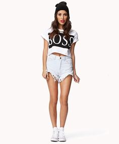 Want this look for her & that top!! Got the beanie Just need to make the shorts!