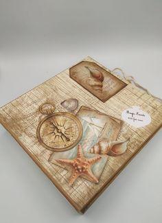 Main Theme, Photo Album Scrapbooking, Sea Shells, Decorative Boxes, Creations, Art Crafts, Handmade, Board, Birthday