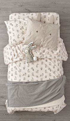 Shop Organic Bunny Bedding. It's time to hop on an organic Bunny Bedding set like no other. The light pink duvet cover and sheet set are adorned with printed rabbits for a playful touch. Add the unique bunny face sham and round out the look.
