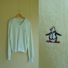 vintage original penguin sweater . munsingwear grand slam . white v neck