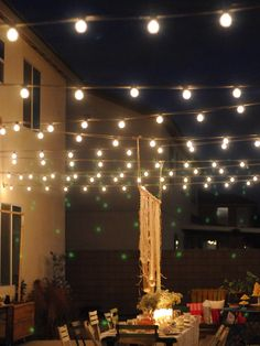 """Nothing says ""party"" like outdoor string lights! They are a fun alternative to traditional outdoor lighting and give diners a view of their plates"