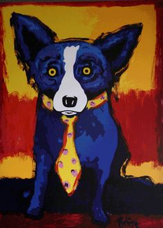 One of the famous Blue Dog art canvases of New Orleans artist, George Rodrigue. Have been a huge fan for years. Great dog art