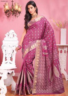 Sarees:R10P345 | Printed Dark Pink Cotton Saree