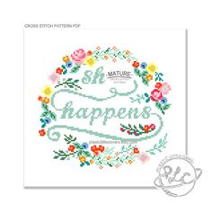 St Happens. Modern Floral Cross Stitch di plasticlittlecovers