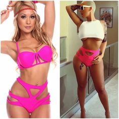 Our Cutout Two Piece Bikini comes in pink and yellow  Perfect for your next vacation!! ✨www.perfecthaze.com✨