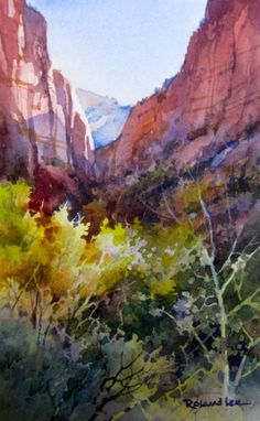 Kolob Golden Leaves , Original watercolor painting of Kolob Fingers area of Zion National Park - Watercolor Paintings by Roland Lee