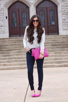 The Sweetest Thing Blog, Emily Gemma, Gigi New York clutch, Uber clutch in Magenta, gray sweater, jbrand jeans...