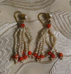 Pearl and Coral earrings, 1860's
