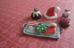 Polymer Clay Christmas Treats and Santa Hat