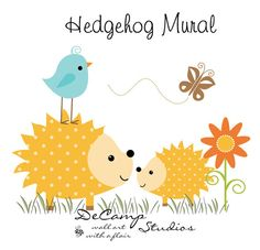 Hedgehog Mural Wall Decal for baby girl or boy woodland nursery or children's forest animal room decor. This adorable mural of two hedgehogs in a sunny meadow #decampstudios