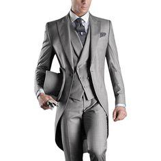 New Arrival Italian men tailcoat gray wedding suits for men groomsmen suits 3 pieces groom wedding suits peaked lapel men suits => Price : $82.22