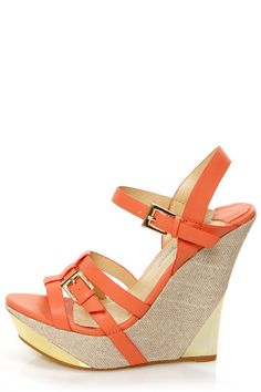 Heather 01 Coral Strappy Buckle Platform Wedge Sandals - $36.00