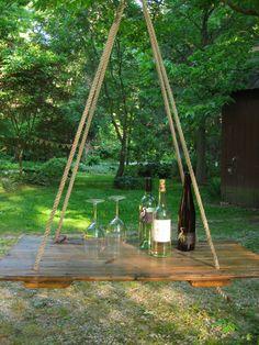 HANGING TABLE- Old barn wood hay DOOR-Anthropolie inspired, Wedding Bar,Coffee Table, Photo prop, Home Decor. $350.00, via Etsy.