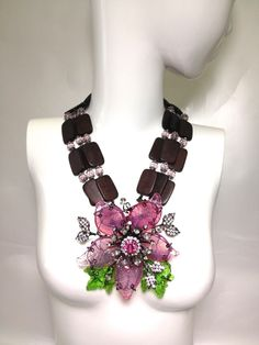 VRBA ART GLASS FLOWER 3 STRAND NECKLACE