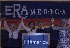 Rosalynn Carter and Betty Ford at a rally for ERA, 11/19/1977. (National Archives, Carter Presidential Library, ARC 176940)