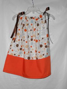 Toddler Girls Fall Pillowcase Dress  Brown and by VickysCreation, $15.00