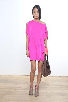 zero + maria cornejo, again. @Jocelyn Negron would look hot in this dress. #neon