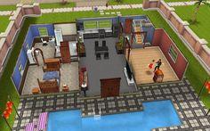 Sims Freeplay Housing: Dance Villa Down Stairs View