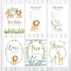 Baby Milestone Cards, Cards, Photo Props, Safari for Twins Bridal Shower Games, Baby Shower Games, Twin Babies, Twins, Baby Milestone Chart, Craft Free, Babies First Year, Baby Cover, Baby Milestones