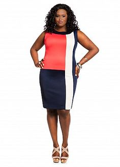 9a0dc9b67 Ashley Stewart: Web Exclusive: Color Block Panel Dress Plus Size Looks,  Curvy Plus