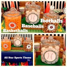Basketballs (cheese puffs), Baseballs (powdered donut holes) and Footballs (Snyder's pretzel nibblers) at a sports themed party. LOVE! <3