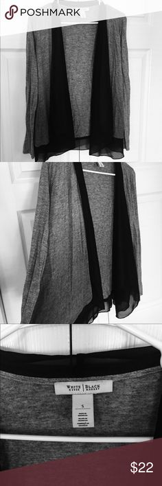 """WHBM Shrug size S Gray long sleeve shrug with added black tulle layer in front and back hem.  Open front, no closure.  Size S 80% rayon 20% wool.  Black section 100% polyester.  Approx 25"""" long including tulle, 21"""" across. White House Black Market Sweaters Shrugs & Ponchos"""
