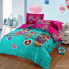 4/3 pieces 100%cotton kids owl girls bedding set 3d flower bed linen with duvet cover/bed sheet/pillowcases king/twin/queen size