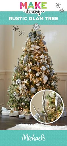 Need inspiration for a Rustic Glam Christmas tree? It can be easily done! Achieve the look using natural elements like antlers, stones, and floral décor.