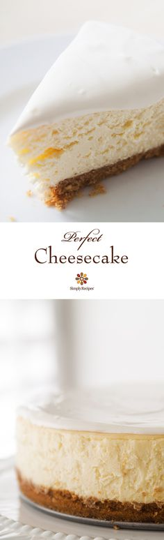Desserts - Perfect Cheesecake ~ Beautiful, classic cheesecake, tangy and sweet, with a velvety smooth and rich texture ~ SimplyRecipes com Perfect Cheesecake Recipe, Classic Cheesecake, Cheesecake Recipes, Healthy Cheesecake, No Bake Desserts, Just Desserts, Dessert Recipes, Cupcake Cakes, Cupcakes