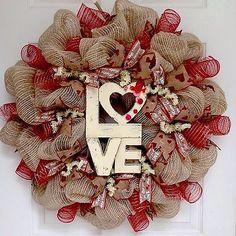 Love Button Natural Burlap Valentines Day Deco Mesh Wreath